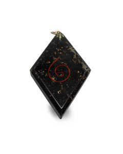 Orgonite pendant diamond shaped shungit with spiral