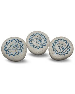 Pebble - Engraved River Stone 5th Chakra light blue