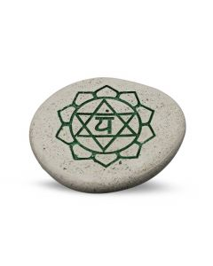 Pebble - Engraved River Stone 4th Chakra Green