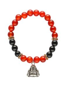 Bracelet Carnelian & Onyx beads with Happy Buddha