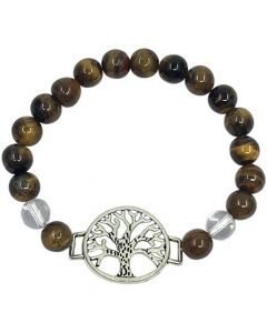 Bracelet Tiger Eye & Quartz with Tree of Life
