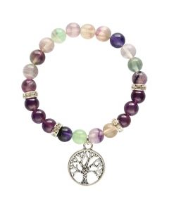 Bracelet Fluorite & Amethyst and Tree of Life pendant