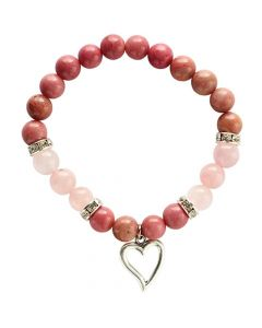 Bracelet Rhodonite and Rose quartz with heart pendant