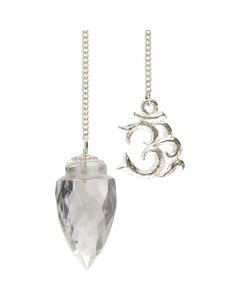 GEMSTONE PENDULUM WITH OM LIGHT DIFFUSER CLEAR QUARTZ