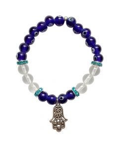 Bracelet Evil Eye beads and shiney Hand of Fatima