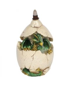 Green Dragon in Egg Backflow Incense Burner
