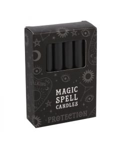 Pack of 12 Black 'Protection' Spell Candles.