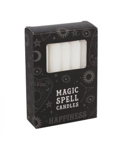 Pack of 12 White 'Happiness' Spell Candles