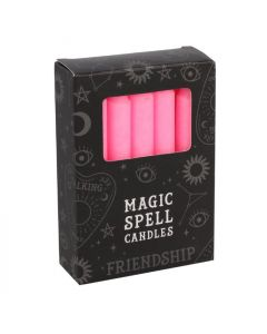 Pack of 12 Pink 'Friendship' Spell Candles