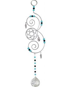 "Brass Wire Hanging Crystal Dreamcatcher Turquoise 13,25""-629"