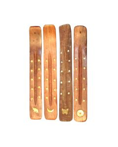 Wooden Incense Holder with Brass Inlay