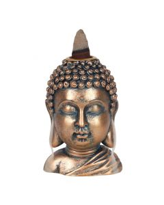 Bronze Boeddha Hoofd Backflow Wierookbrander