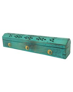 Wooden Incense Box Turquoise 30cm