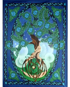 "TAPESTRY TREE OF LIFE MAN 52 x 76"" //"