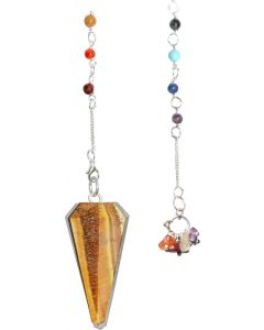 6 FACETED 7 CHAKRA YELLOW TIGER EYE PENDULUM-11160