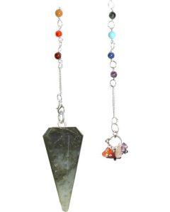 6 Faceted 7 Chakra Labradorite Pendulum -11161