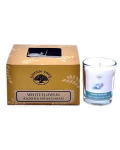 Green Tree White Flowers votive candles 55 grams