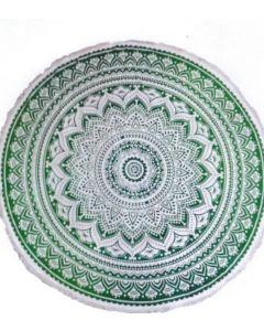"Round Cotton Tapestry 72"" LOTUS (green)"