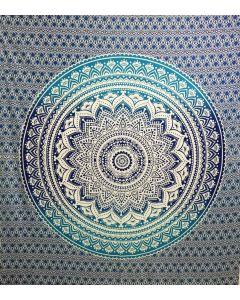 "Tapiz de Algodón doble Lotus Mandala Azul 90x90"""