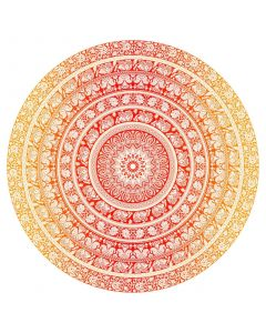 "Round Cotton Tapestry 72"" ELEPHANT  (yellow)"
