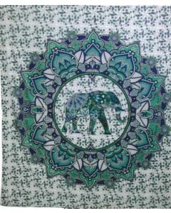 "Cotton Tapestry Double  90""x 90""  ELEPHANT (green)"