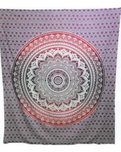 "Cotton Tapestry Double  90""x 90"" LOTUS MANDALA (pink)"