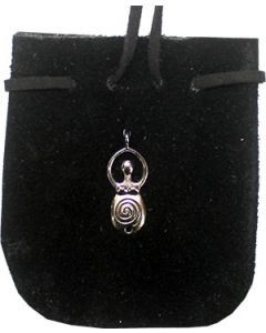 "SUEDE POUCH ROUNDED WITH STRAP BLACK METAL GODDESS 3.25"" x 2"