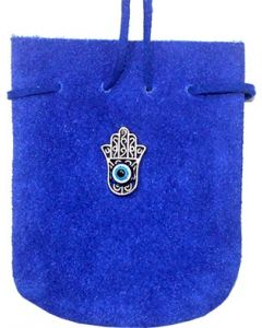 "SUEDE POUCH ROUNDED WITH STRAP COBALT- FATIMA HAND 3.25"" x 2"