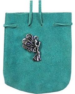 "SUEDE POUCH TURQUOISE- ANGEL 3.25"" x 2.75"""