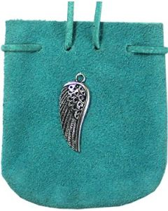 "SUEDE POUCH TURQUOISE- ANGEL WING 3.25"" x 2.75"""