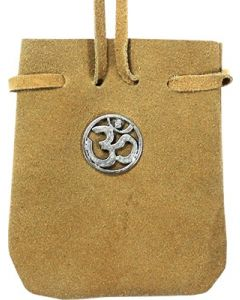 "SUEDE POUCH ROUNDED WITH STRAP NATURAL- ROUND OM 3.25"" x 2.7"