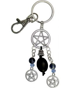Key chain pentacle with black stone nugget and sodalite