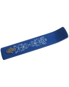 Wooden Incense holder cobalt blue with metal Hand of Fatima