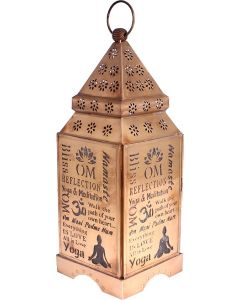 LANTERN OM GOLD ANTIQUE 12 x 4.5 in