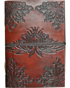 LEATHER JOURNAL - LEATHER CORD TO WRAP AROUND LOTUS  3 x 4""