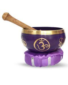 Brass Singing Bowl with stick & Cusion  12 cm Crown Chakra /