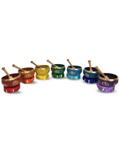 Brass Singing Bowl with stick & Cushion 12 cm 7 chakra set