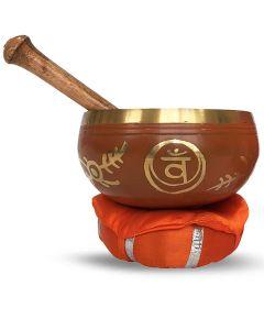 Brass Singing Bowl with stick & Cusion  12 cm Sacral Chakra