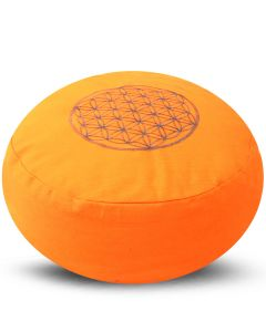 Meditation Cushion Round Flower Of Life Orange Buckwheat Fil