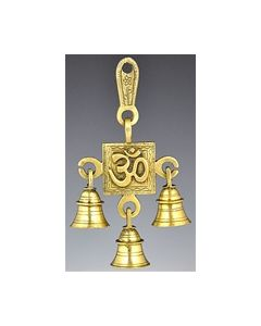Om Symbol Solid Brass Wall Hanging Chime with Three Bells
