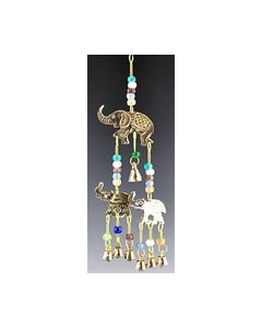 Elephant mobile brass with beads&bells