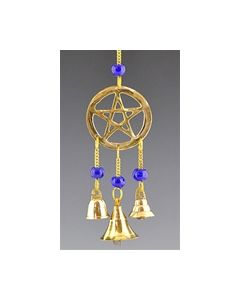 Pentagram in brass with beads and miniature brass bells - 9
