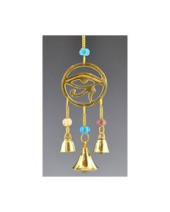 Horus Eye in brass with beads and miniature brass bells