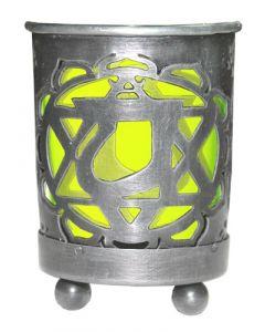 Chakra Votive Holder Green Glass Insert - Heart