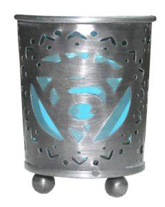 Chakra Votive Holder Blue Glass Insert - Throat
