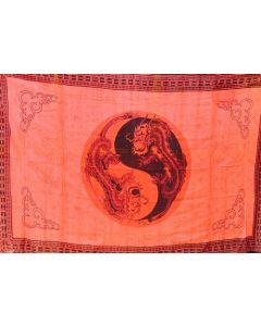 Dragon Ying Yang Red Tapestry 180cm x 270 cms