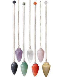 Gemstone Pendulums Curved Assorted Stones per dozijn
