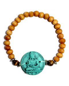 Bracelet Sandalwood with Turquoise Medicine Buddha