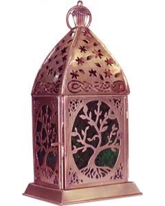 "LANTERN TREE GREEN COPPER ANTIQUE 7""H"