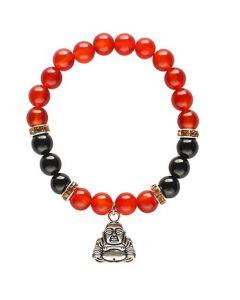 Bracelet Carnelian & Onyx beads with Happy Buddha